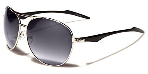 NEUF OXIGEN hommes Aviateur Lunettes de soleil mode complet UV400 Protection GRATUIT vibrant Hutt microfibre poche inclus argent/noir/dégradé verre noir