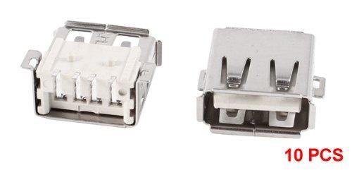 Amazon.com: eDealMax 10 piezas blindado USB A hembra de 180 grados 4-Pin SMD SMT Jack soldadura del zócalo: Electronics