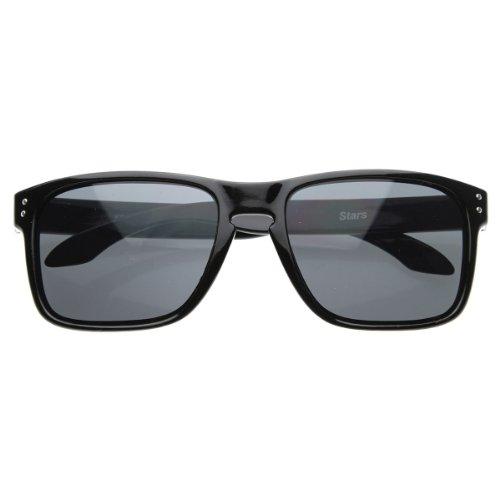 zeroUV - Designer Inspired Active Lifestyle Square Sunglasses with Keyhole Nose Bridge (Shiny Black) (Active Lifestyle Sunglasses)