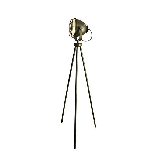 Steel - Lámpara de pie tripode acero acabado antiguo H149 cm ...