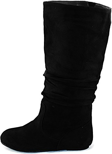 Wild Diva New Black Casual Slouch Flat Knee High Boot Sz #L13 (Flat Slouch Boot)