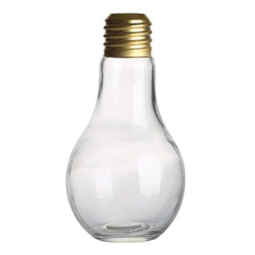 Fenical 500ML Light Bulb Shaped Glass Bottle Novelty Drinking Glasses Party Favors for Drinks Beers Cocktails (Light Color Randomly)