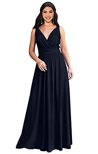 - KOH KOH Womens Long Sleeveless Flowy Bridesmaids Cocktail Party Evening Formal Sexy Summer Wedding Guest Ball Prom Gown Gowns Maxi Dress Dresses, Dark Navy Blue L 12-14
