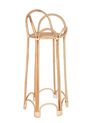 (Rattan Loop Indoor Plant Stand, 26 inches, Natural)