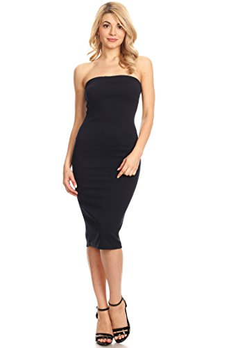 (Casual Solid Strapless Midi Bodycon Tube Dress/Made in USA Navy L)