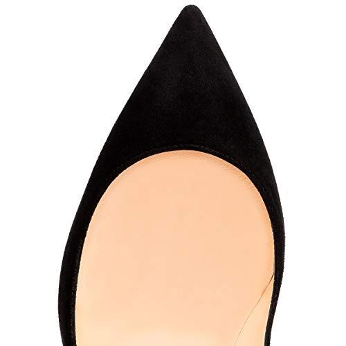 par Suède Chaussures à 10cm Talon Rouge Semelle Défaut Pan Hauts 10cm Pompes Femmes Caitlin Noir Aiguille pointuSlingback à Talons Bout znTwOqqBx