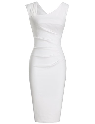 MUXXN Women's Burgundy Cap Sleeve Empire Waist Wedding Tea Dress (M White)