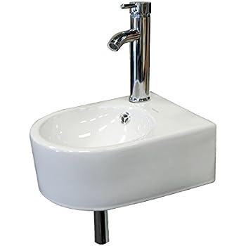 Wonline Wall Mount White Circle Overflow Bathroom Tempered