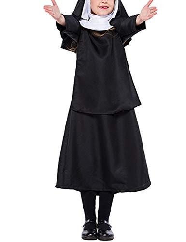 zhxinashu Children Black Uniform Nun Dress Jesus Christ Costume XL-(135-145) -