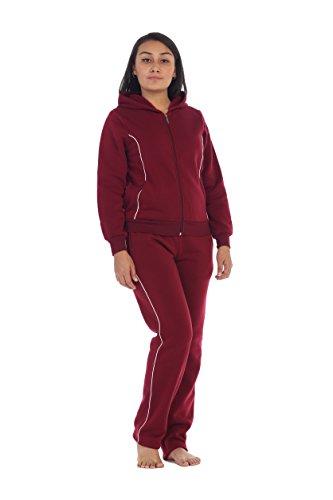 unik Women Fleece Sweatsuit Set, Burgundy Size Medium by unik