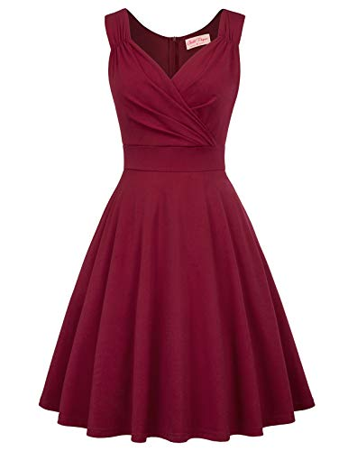 Women's Vintage 50s Vintage Swing Dress for Party Knee Length Dress Size M Wine Red BP927-1 -