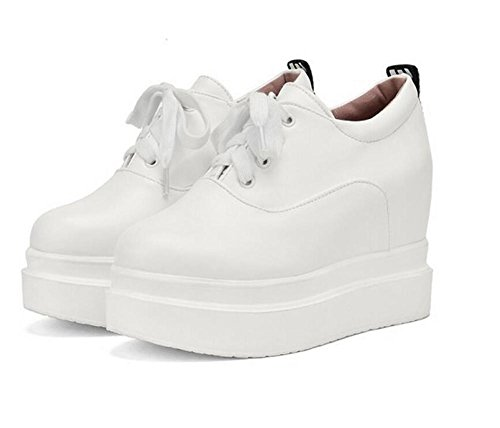 XIE Plataforma a Prueba de Agua Talón de Cuña en Las Correas de Altura Cruzada Baja para Ayudar a los Zapatos, White, 38 WHITE-42