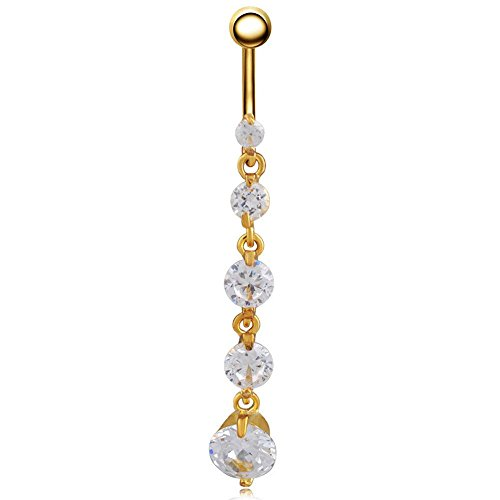 Shiny Body Jewelry Surgical Steel Round Cubic Zirconia Navel Ring Belly Button Ring (Gold Tone)