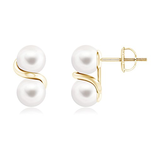 Swirl Pearl Earrings (Two Stone FreshWater Cultured Pearl Earrings with Metal Swirl in 14K Yellow Gold (6mm Freshwater Cultured Pearl))