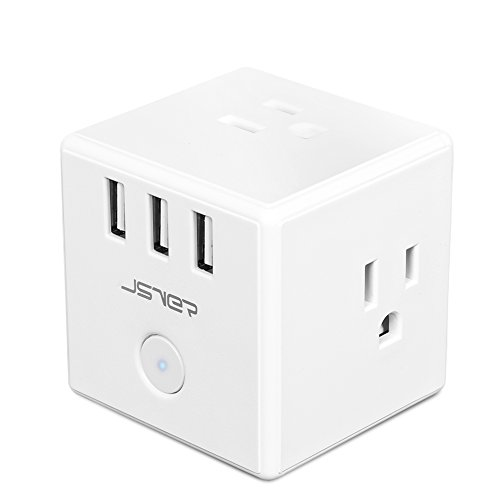 JSVER Wall Outlets with 3 USB Charging Port and 3-AC Outlet, White