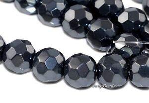 Noir Black Metallic Hematite Gemstone Faceted Round 8MM Loose Beads 8