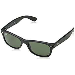 Ray-Ban NEW WAYFARER - BLACK RUBBER Frame CRYSTAL GREEN Lenses 55mm Non-Polarized