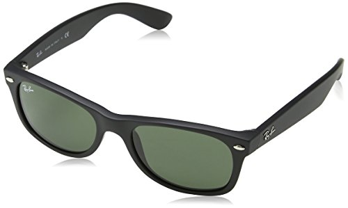 Ray-Ban NEW WAYFARER - BLACK RUBBER Frame CRYSTAL GREEN Lenses 55mm - Men Rayban Sunglasses