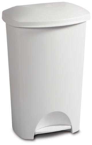 STERILITE 10968004 11 Gallon/42 Liter StepOn Wastebasket, White Lid & Base w/Titanium Pedal, (Gal Wastebasket)