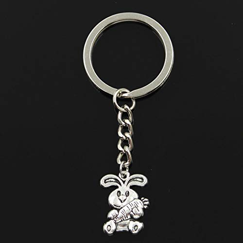 (Mct12-30mm Key Ring Metal Key Chain Keychain Jewelry Antique Silver Plated rabbit bunny carrot easter 21x15mm Pendant)