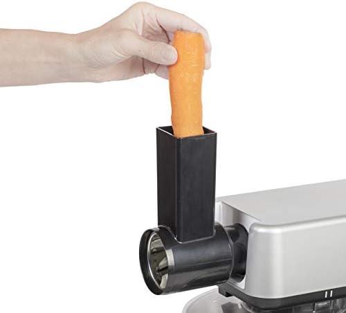 Bestron Robot de cuisine 4 en 1 (pétrisseur, blender, hachoir à viande, râpe/éminceur), 1200 W, Acier inoxydable
