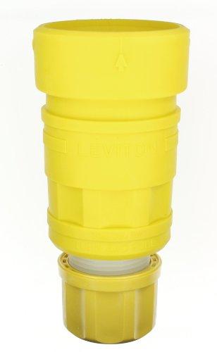 Leviton 29W82 30-Amp, 277/480-Volt- 3PY, Locking Connector, Industrial Grade, Grounding, Wetguard, Yellow