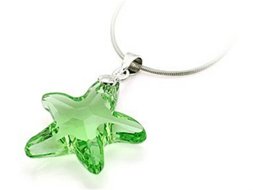 Swarovski Crystal Starfish Necklace (Finejewelers Sterling Silver Green Color Crystal Starfish Pendant Necklace made with Swarovski Elements)