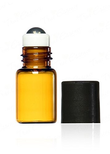 True Essence 2 ml, 5/8 Dram Amber Glass Mini Roll-on Glass Bottles with Metal Roller Balls - Refillable Aromatherapy Essential Oil Roll On (12)