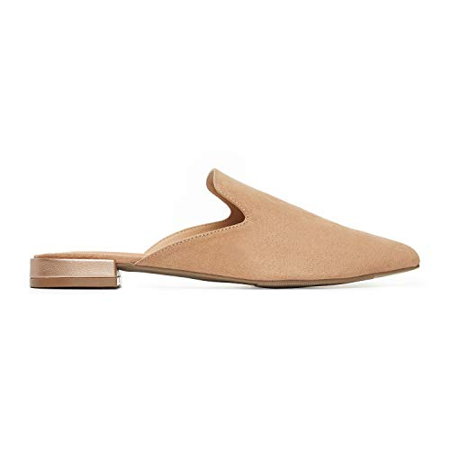 Rohb by Joyce Azria Maison Pointed Toe Flat Slip On Mule (Nude Micro Suede with Rose Gold PU Metallic Heel) Size 8.5
