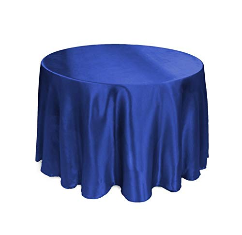 Tablecloths Round Satin Tablecloth for Wedding Events Party Banquet Hotel Decoration Satin Dining Table Cover,Royal Blue,180Cm Round 71Inch