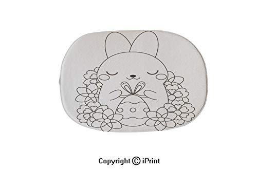(Customized Modern Non Slip Pure Color Oval Bathroom Bath Shower Bedroom Mat,Easter coloring page Color by numbers printable worksheet Cute Easter Rabbit with Egg Educational game for children)