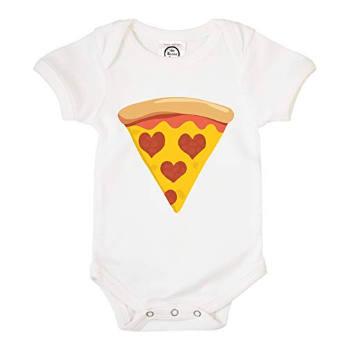 The Spunky Stork Pepperoni Pizza Slice Hearts Organic Cotton Baby Bodysuit (3-6M) White (Best Deep Dish Delivery Chicago)