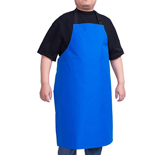 ALIPOBO Waterproof Apron for Men and Women, Durable Heavy Duty Extra Long Adjustable Bib Apron for Kitchen Cooking, Dish Washing, Butcher, Dog Grooming, Lab Work, Blue