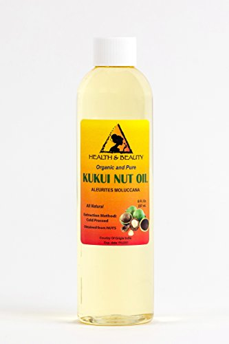 Kukui Nut Oil Organic Carrier Cold Pressed by H&B OILS CENTER Premium Fresh 100% Pure 8 oz