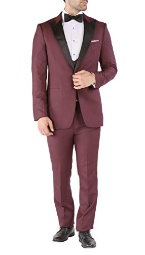 Breasted Peak Double Tuxedo Jacket (Ferrecci 42S Luna Burgundy Slim Peak 3pc Tuxedo)
