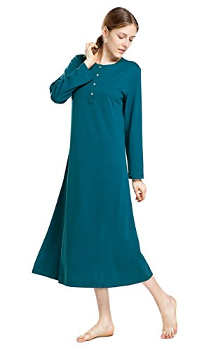 lantisan Cotton Knit Long Sleeve Nightgown for Women, Henley Full Length Sleep Dress, Blue S