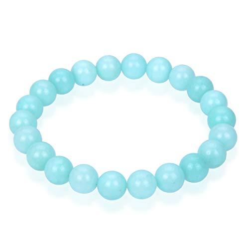 Natural Light Blue Amazonite Gemstone Bracelet 7 inch Stretchy Chakra Gems Stones Healing Crystal Great Gifts (Unisex) GB8-6