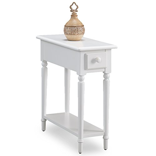 Leick 20017-WT Coastal Narrow Chairside Table with Shelf, Orchid White