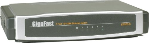 Play Traffic Receiver - Gigafast Wired 10/100 Ethernet 5-port Switch with Auto-Uplink Ports
