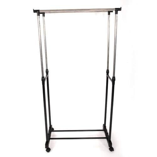 SL&VE Dual bar Vertical Horizontal Stretching Stand Clothes Rack with Shoe Shelf-Black