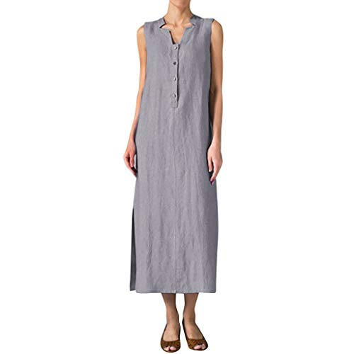 nikunLONG Cotton Linen Long Dress Women Summer Sleeveless Button Solid Maxi Dress Sundress Casual Tunic Dress Gray]()
