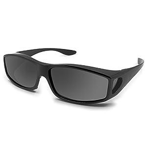 Fit Over Glasses Sunglasses Polarized Lenses Men Women/Wear Over Prescription Glasses Outdoor sports sunglasses UV400 (black)