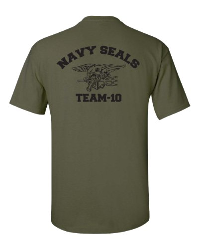 Jacted Up Tees Navy Seal Team-10 Front & Back Men's T-Shirt - Med Military Green (726)