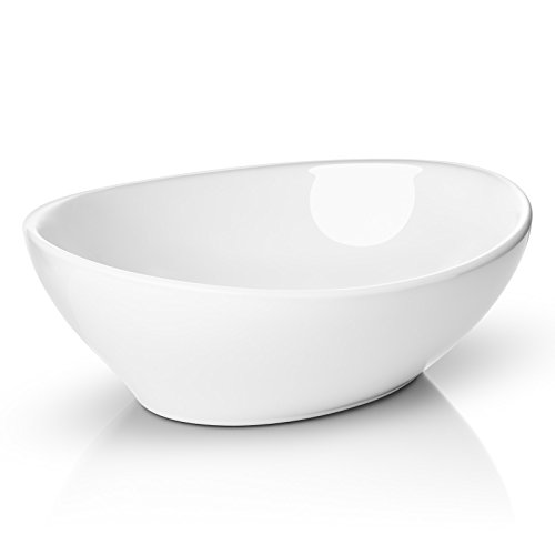 Miligore 16 x 13 Oval White Ceramic Vessel Sink – Modern Egg Shape Above Counter Bathroom Vanity Bowl