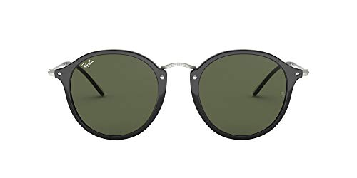 Ray-Ban RB2447 Round Fleck Sunglasses, Black/Green, 52 mm