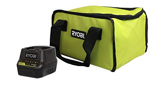 Ryobi P118B 18V Battery Charger and Soft-Sided Power Tool Bag with Cross X Stitching and Zippered Top, Bundle (Charger w/Bag)