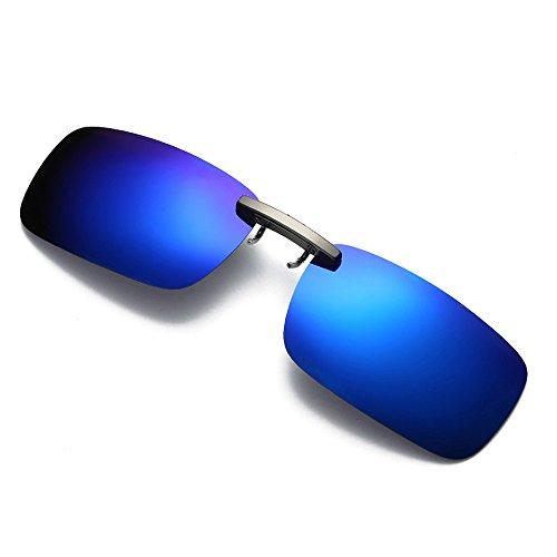 LUCA Clip on Flip up Detachable Night Vision Lens Driving Metal Polarized Lens For Prescription Glasses Sunglasses(Blue,One Size)