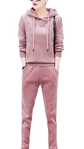 Hajotrawa Womens Active 2 Piece Thermal Sweatpants Hooded Sweatshirt Velour Tracksuit Set Beige Pink - Piece 2 Thermal Sweatpants