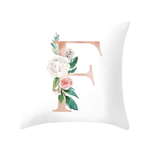 AHAYAKU Letter Pillow Alphabet Cushion Cover for Sofa Home Decoration Flower Pillowcase