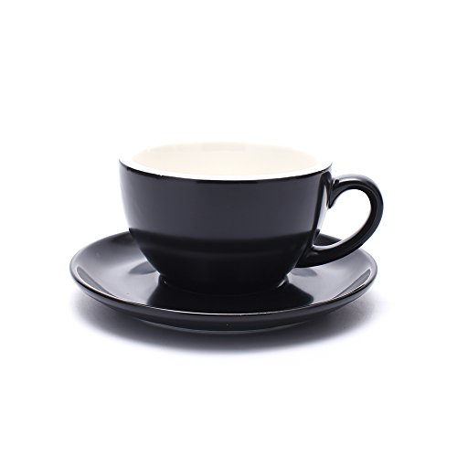 Coffeezone Ceramic Cup and Saucer Cappuccino Barista Latte Art and Americano, New Bone China, 3 Capacity to Choose (Matte Black, 8.5 oz) ()